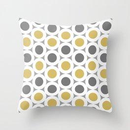 Retro Modern Yellow & Grey Circles Spots  Throw Pillow