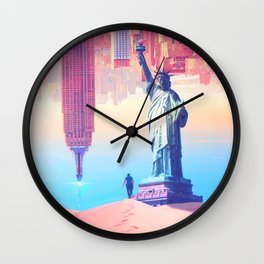 Statue of Liberty in the desert by GEN Z Wall Clock