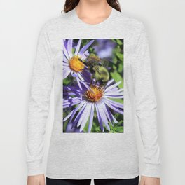 Pollen Dusted Bee on Asters Long Sleeve T-shirt
