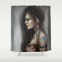 tribal Shower Curtains featuring Tribal by Justin Gedak