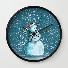 Frosty snowman and his little bird Wall Clock
