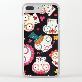 Sugar Skulls and Flowers Clear iPhone Case