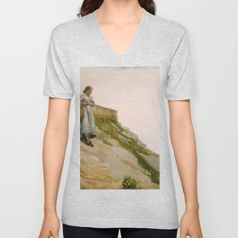 Girl Carrying A Basket 1882 By WinslowHomer | Reproduction Unisex V-Neck