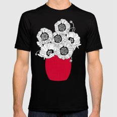 Black and White Poppies in a Red Vase MEDIUM Mens Fitted Tee Black