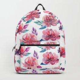 Pink flowers Floral pattern watercolor Botanical illustration Gift for mom Bedroom decor Backpack