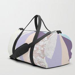 Geometrical faux rose gold pastel colors colorblock Duffle Bag