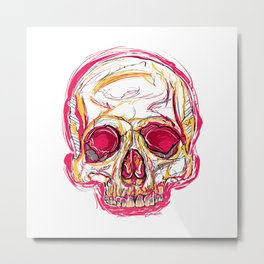 Skull abstract 01 color red Metal Print