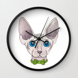Watercolor cat sphinx with butterfly Wall Clock