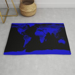 worlD Map Blue & Black Rug