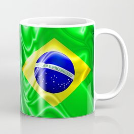 Brazil Flag Waving Silk Fabric Coffee Mug