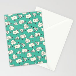Happy Mail Hearts on Teal Stationery Cards