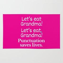 Let's Eat Grandma Punctuation Saves Lives (Pink) Rug