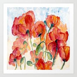 Tangerine Orange Poppy field WaterColor by CheyAnne Sexton Art Print