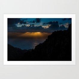 Mystical sunset behind the clouds Art Print