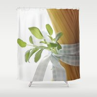 pasta Shower Curtains featuring Fresh garden herbs cuffs on Pasta by Tanja Riedel