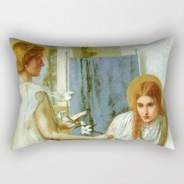 """Dante Gabriel Rossetti """"Ecce Ancilla Domini! (The Annunciation)"""" Rectangular Pillow"""