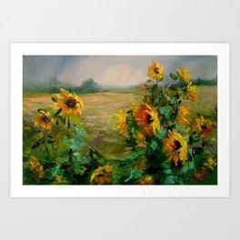 Sunflowers in a field Art Print