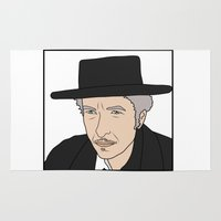 bob dylan Area & Throw Rugs featuring Bob Dylan by Whiteland