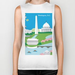 Washington, D.C. - Skyline Illustration by Loose Petals Biker Tank
