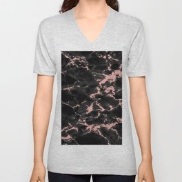 Beautiful Black marble with Glittery Rose Gold Veins Unisex V-Neck