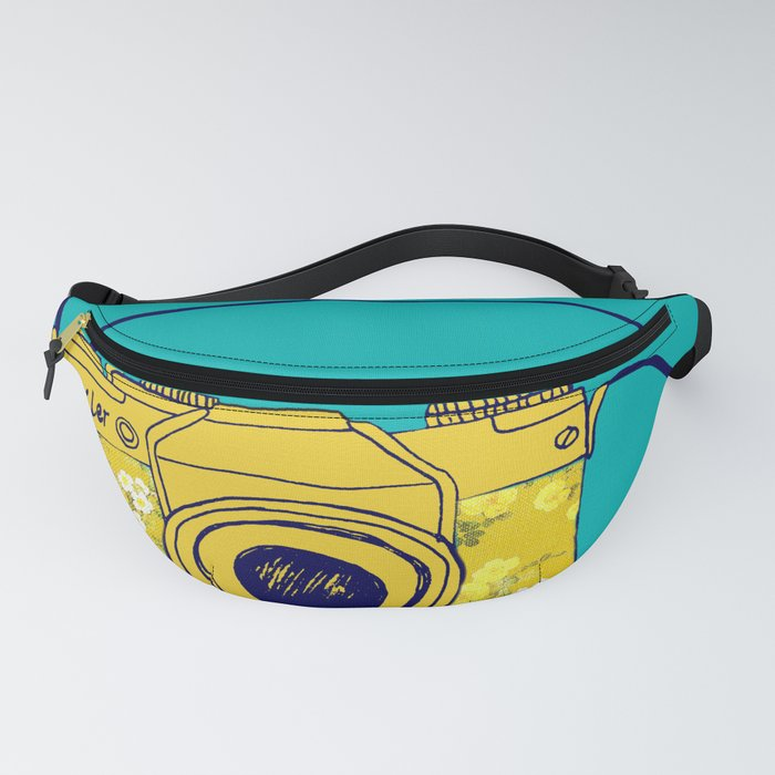 Vintage camera , retro floral camera , mustard yellow on teal Fanny Pack