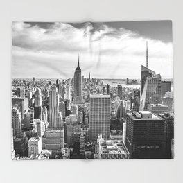 New York City Cityscape (Black and White) Throw Blanket