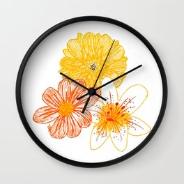 Orange and yellow flowers Wall Clock
