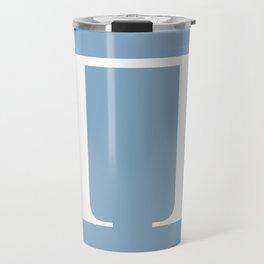 Greek letter Pi sign on placid blue background Travel Mug