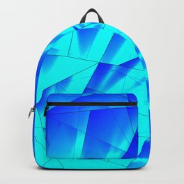 Bright sunshine on celestial and blue triangles of irregular shape. Backpack