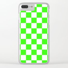 Checkered - White and Neon Green Clear iPhone Case