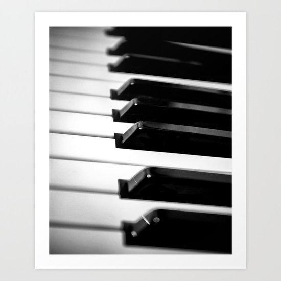 Black & White Piano Keys Art Print