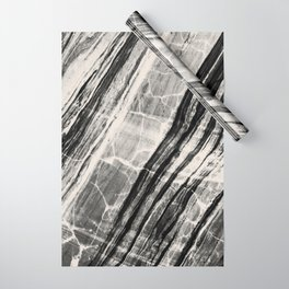 Abstract Marble - Black & Cream Wrapping Paper