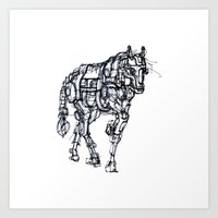 mechanical horse Art Print