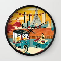 thailand Wall Clocks featuring Bangkok, Thailand by Sam Brewster