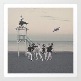 Beach Boxing Art Print