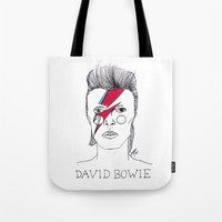 bowie Tote Bags featuring Bowie by ☿ cactei ☿