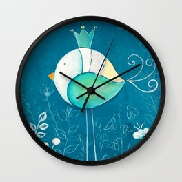 Little prince with a green crown Wall Clock
