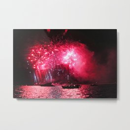 Galaxy Fireworks over South Lake Tahoe Metal Print