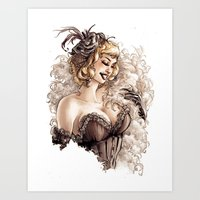 burlesque Art Prints featuring Burlesque by Simona Bonafini