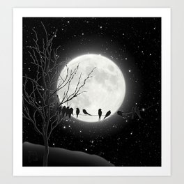 Moon Bath, Birds On A Wire Art Print