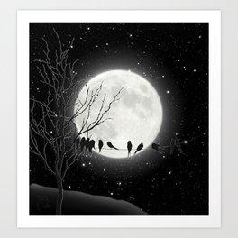 Moon Bath, Birds On A Wire Art Print