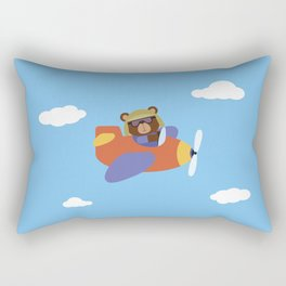 Bear in Airplane Rectangular Pillow