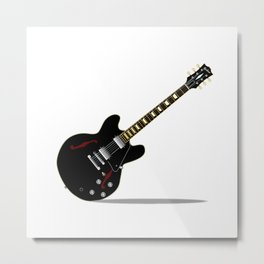Black Semi Solid Guitar Metal Print