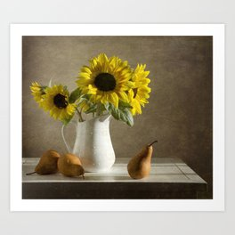 Sunflowers and pears Art Print