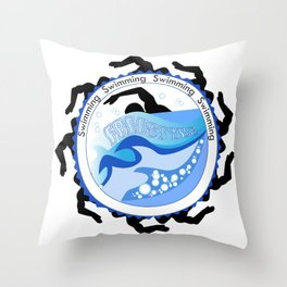 Swimming 2 Throw Pillow