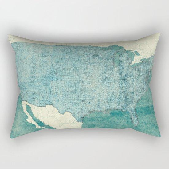 United States Of America Map Blue Vintage Rectangular Pillow
