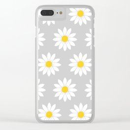 Daisies in Gray Clear iPhone Case
