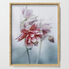 Red columbine flowers Serving Tray