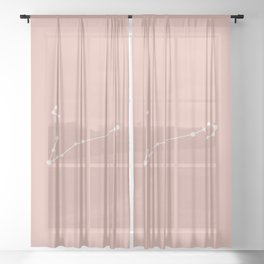 Pisces Zodiac Constellation - Pink Rose Sheer Curtain