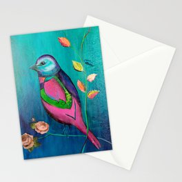 Colorful bird with roses Stationery Cards